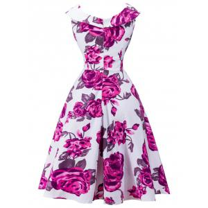 Retro Rose Floral Print Capelet Dress -