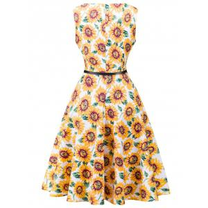 Retro High Waisted Sunflower Dress -