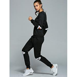 Heart Sweatshirt and Cut Out Jogger Pants - BLACK XL