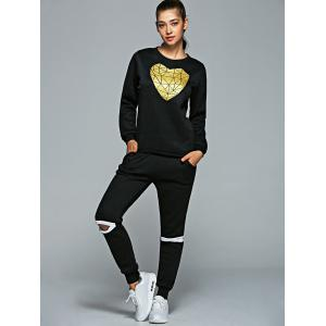 Heart Sweatshirt and Cut Out Jogger Pants -