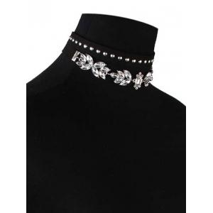 Faux Crystal Leather Velvet Rivets Chokers - BLACK