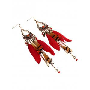 Rhinestone Feather Fan-Shaped Boho Jewelry Earrings -