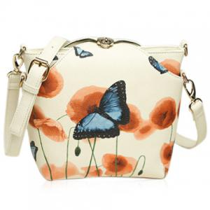 Twist-Lock Butterfly Print PU Leather Crossbody Bag -