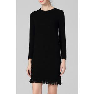 Long Sleeve Fringe Fitted Sweater Dress