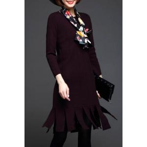 Fringe Knit Long Sleeve Dress - PURPLE ONE SIZE