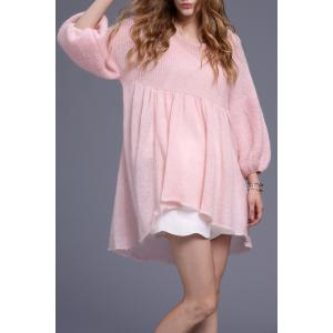 Waisted High Low Sweater Dress - Shallow Pink - S