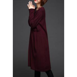 Long Sleeve A Line Knit Dress - WINE RED ONE SIZE
