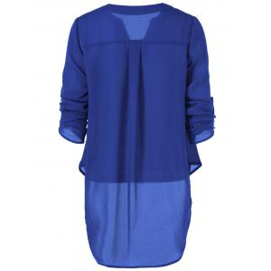 V Neck High-Low Blouse - SAPPHIRE BLUE XL
