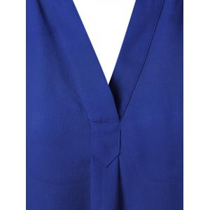 V Neck High-Low Blouse - SAPPHIRE BLUE L