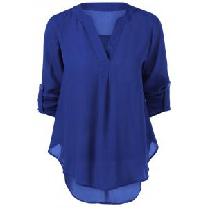 V Neck High-Low Blouse - SAPPHIRE BLUE M