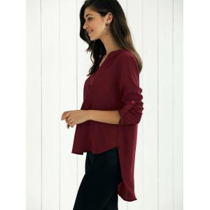 V Neck High-Low Blouse - WINE RED S