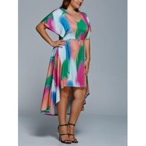 Plus Size Feather Print Casual High Low Dress With Sleeve -
