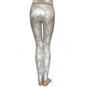 Metallic Ornement imprimé Skinny taille haute Leggings - Gris TAILLE MOYENNE