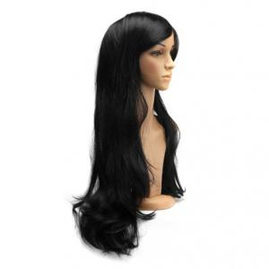 Long Slightly Curled Side Bang Parrucca Piena Cosplay Synthetic Wig - BLACK