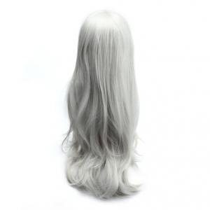 Long Slightly Curled Side Bang Parrucca Piena Cosplay Synthetic Wig - SILVER WHITE