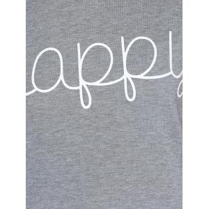Letters Print Raglan Sleeve T-Shirt - WINE RED L