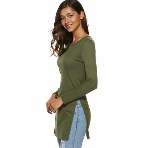 Side Slit Plain Long Sleeve Slimming T-Shirt -