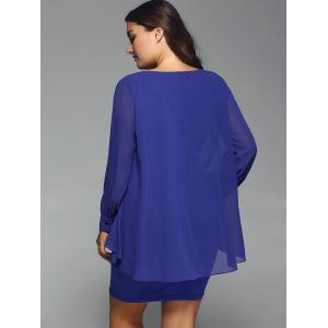Long Sleeve Popover Dress - BLUE 3XL