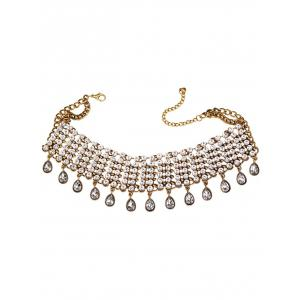 Rhinestone Alloy Water Drop Layered Choker - GOLDEN