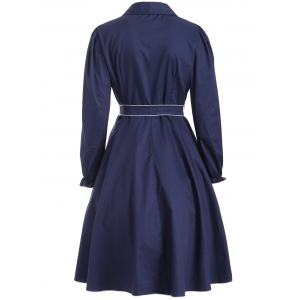 Buttoned Belted Ruffled Fit and Flare Dress -