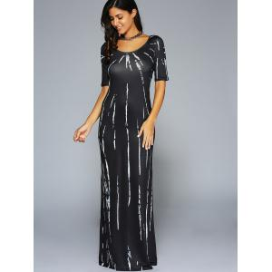 Back Hollow Out Striped Maxi Dress -