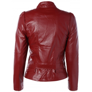 Zip PU Leather Biker Jacket - WINE RED L