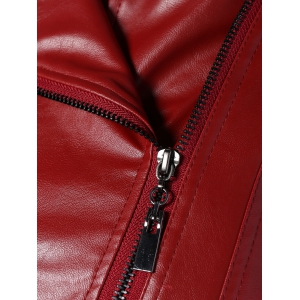 Zip PU Leather Biker Jacket - WINE RED 3XL