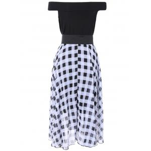 Off The Shoulder Checked Chiffon Dress -