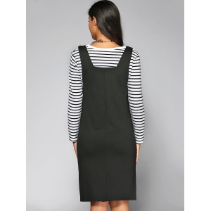 Striped T-Shirt + Letter Pattern Suspender Dress Twinset -