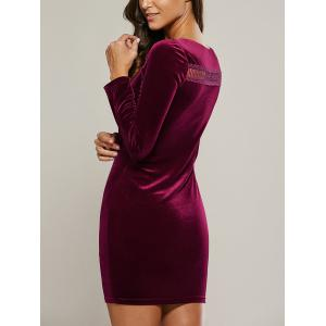 Long Sleeve Hollow Out Velet Dress -