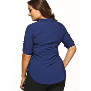 Plus Size Pocket Embellished Asymmetric Hem Shirt -