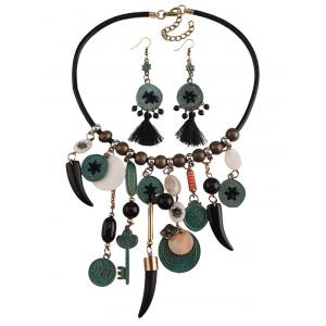 Coins Floral Key Beaded Jewelry Set -