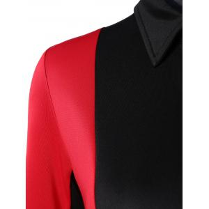 Buttoned Long Sleeve Color Block Bodycon Dress -