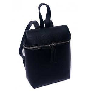 Textured PU Leather Zip Backpack -