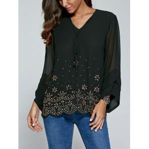 Long Sleeve V Neck Rhinestone Blouse -