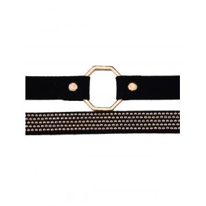 Faux Leather Velvet Alloy Choker Necklaces - BLACK