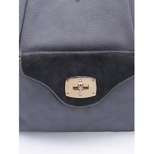 Hasp Textured PU Leather Backpack -