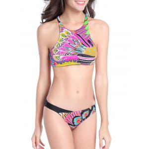 High Neck Feather Print Strappy Bikini Set -