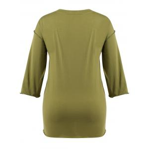 Slit Plus Size Long Sleeve T-Shirt -