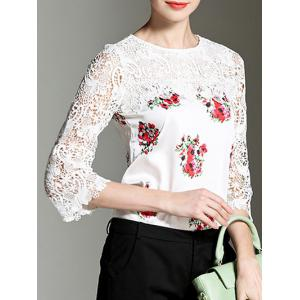 3/4 Sleeve Floral Print Lace Splicing Blouse -