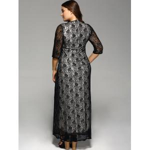 Plus Size Maxi Lace Prom Dress with Sleeves - BLACK 4XL