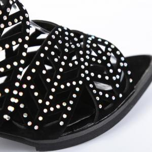 Block Heel Rhinestone Sandals - BLACK 38