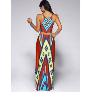 Cut Out Geometry Print African Dress -
