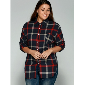Plus Size Checkered Print Back Buttoned Shirt -
