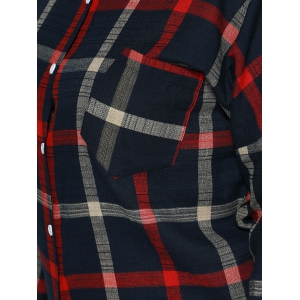 Plus Size Checkered Print Back Buttoned Shirt - RED 5XL