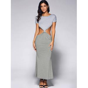 Cut Out Long Fitted Short Sleeve Striped Maxi Dress - LIGHT GRAY XL