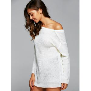 Drop Shoulder Backless Long Sweater - WHITE XL