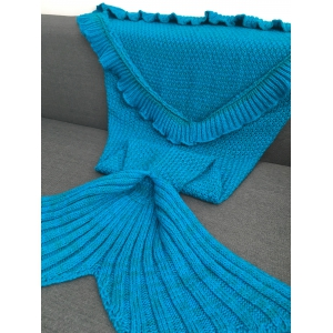 Comfortable Flounced Design Knitted Mermaid Tail Blanket - BLUE
