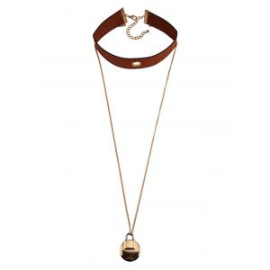 Faux Leather Lock Pendant Choker Necklace - BROWN