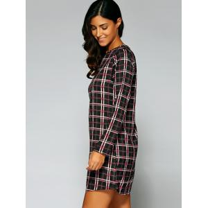 Long Sleeve Checked A-Line Dress - COFFEE XL